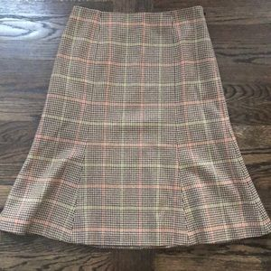 NWT! Talbots Brown, Orange, Green Plaid Wool Skirt